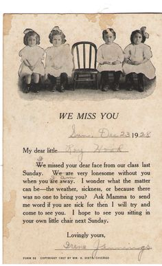 Mrs Irene Jannings missed little Roy Hood in Sunday School, December 23rd, 1928.