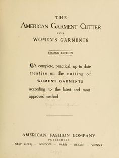 The American garment cutter for women's garments
