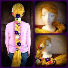 Disney Tangled Rapunzel Crochet Hat / Wig