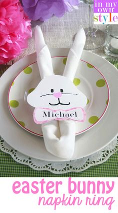 Welcome your friends with this Easter bunny napkin ring craft!