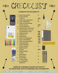 checklist schoolartikelen