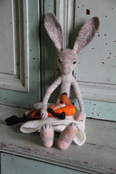 mother, baby and carrot by swig - filz felt feutre, via Flickr