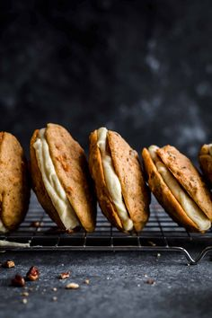 These Carrot Cake Cookies are soft and cakey and filled with creamy Cream Cheese Frosting. Carrot Cake Cookies by Also The Crumbs Please Carrot Cake Sandwich Cookies, Carrot Cake Cookies, Best Carrot Cake, Cream Cheese Cookies, Cream Cheese Filling, Cream Cheese Frosting, Cookie Recipes, Dessert Recipes, Desserts