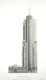 NBC Corporate Center: West Elevation (Presentation Drawing) by Adrian D. Smith for Skidmore, Owings & Merrill Art Institute Of Chicago, Willis Tower, Skyscraper, Presentation, Drawings, Artwork, Skyscrapers, Work Of Art, Auguste Rodin Artwork