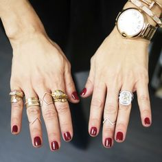 Obsessed: @Rachel Zoe's Bordeaux Nail Polish and fabulous stacked rings