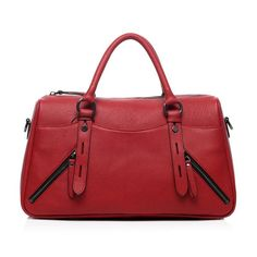Beulah Red Leather Tote,Summer Boho,Women Handbag,Retro Classic,Genuine Leather