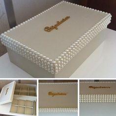 Caixa para bijuterias decorada com pérolas ❤️❤️❤️❤️❤️