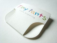 """Clever Business Card Transforms Into A Baby Diaper """"Tiny Pants"""" is a cloth diaper company with a really cool calling card. This small marketing ploy easily folds into the shape of a diaper. Typography Logo, Graphic Design Typography, Branding Design, Logo Design, Corporate Design, Packaging Design, Cool Business Cards, Business Card Design, Creative Business"""