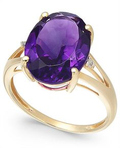 ) and Diamond Accent Oval Ring in Gold (Also Available in Mystic Topaz, Blue Topaz, Prasolite & Smoky Quartz) - Amethyst Amethyst And Diamond Ring, Pink Amethyst, Amethyst Jewelry, 14k Gold Ring, Amethyst Gemstone, Blue Topaz, Gold Rings, Purple Rings, Gemstone Rings