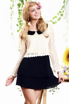 The dress made of terylene and cotton, featuring turndown collar, long sleeves, contrast color, lace design, all in mini length cut.$86