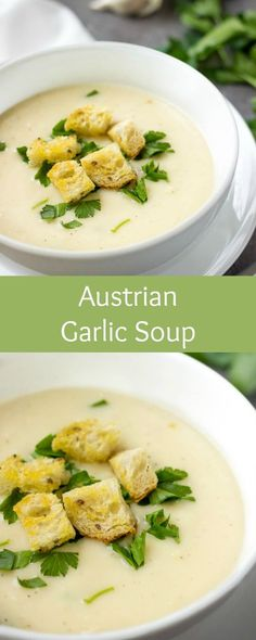 Austrian Garlic Soup With Croutons via @https://www.pinterest.com/lavenderandmcrn/