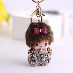 Creative kawaii strass monchichi porte-clés poupée pendentif de voiture porte-clés femmes sac à main sac charme porte-clés porte-Bijoux cadeau