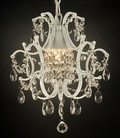 White wrought iron crystal chandelier lighting country french - All For Decoration Cheap Chandelier, Crystal Chandelier Lighting, Mini Chandelier, Country Chandelier, Chandelier Ideas, Ceiling Fixtures, Ceiling Lights, Light Fixtures, Home Lighting Design