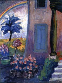 St. Prex, Doorway, Garden with Rainbow, 1916,  Marianne von Werefkin  (Russia 1860--Switzerland 1938)