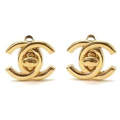 Pre-owned Chanel Gold Tone Metal Coco-Mark Earrings ($263) ❤ liked on Polyvore featuring jewelry, earrings, earring jewelry, chanel jewelry, chanel, preowned jewelry and chanel earrings