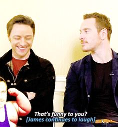 """""""That's funny to you?"""" James McAvoy laughing about how Michael Fassbender was called Michael Fatbender in school. Charles Xavier, X Men, Marvel Dc, James Mcavoy Michael Fassbender, Cherik, Tom Hiddleston, Funny, Hilarious, The Villain"""