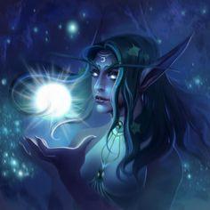 Tyrande Whisperwind from World of Warcraft by DziKawa on DeviantArt - Garden Drawing World Of Warcraft Game, Warcraft Art, Elfa, Moon Elf, Night Elf, Heroes Of The Storm, Fantasy Pictures, Dark Elf, Wow Art