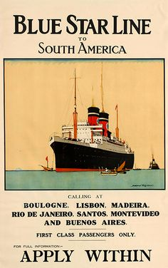 South America Blue Star Line Norman Wilkinson, - original vintage poster… Dazzle Camouflage, Poster Ads, Art Posters, Vintage Boats, Bus Travel, South America Travel, Vintage Travel Posters, Vintage Advertisements, Traveling By Yourself