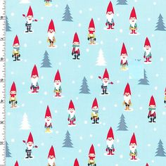 Gnomes as Elves on Blue Christmas Fabric Michael Miller