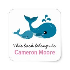Cute whales personalized bookplate / book sticker for kids. Great for labelling school books