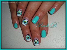 Mint with Flowers by RadiD - Nail Art Gallery nailartgallery.nailsmag.com by Nails Magazine www.nailsmag.com #nailart