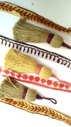 Naturally, organic cotton dyed block print ribbons and tassels. Botanica Tinctoria