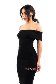 * LIMITED EDITION *  KHARI Bardot Midi Dress in Black