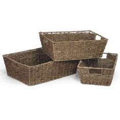 Michaela Brown Rectangular Sea Grass Utility - Set of Three...Want these for my office