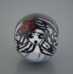 Face motif spherical glass lampwork bead now for sale on my Etsy store.