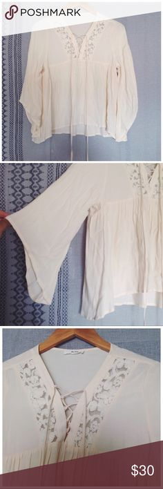 'Aviel' Romantic Wide Sleeve Lace-Up Blouse - romantic oversized billowy fit - lace detail at the neckline with lace up feature - wide drip sleeves - this is a crisp cream color - brand: bcnu Anthropologie Tops Blouses