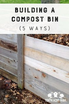 There are many ways to build a compost bin. However you'll want to choose a design to meet your needs. Here arefive compost bin designs to choose from. Organic Gardening, Gardening Tips, Vegetable Gardening, Permaculture Garden, Sustainable Gardening, Potager Garden, Veggie Gardens, Garden Landscaping, Outdoor Gardens