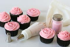 rose cupcakes...cute for a baby/bridal shower