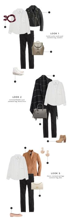 a classic white shirt and black pants styled three totally different ways.