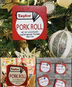 "Pork Roll 4"" Ornaments Taylor Pork Roll, Wood Ornaments, Christmas Ornaments, Rolls, Holiday Decor, Handmade, Hand Made, Christmas Jewelry, Buns"