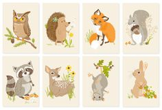 raccoon woodland art print 8x10 nursery art by SeaUrchinStudio - some of these would make cute tats too