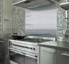 Chevron Stainless Steel Kitchen Backsplash - SpectraMetal