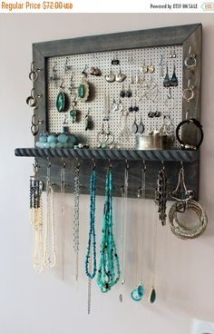 How to hang an easy diy jewelry organizer on a wall or dresser using on sale you pick the satin and mesh wall mounted jewelry ms informacin ms informacin diy jewelry organizer display solutioingenieria Image collections