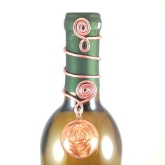 Copper Lampwork Glass Pendant & Copper Wire Wine Bottle Topper by GroupTherapyWine on Etsy