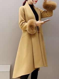 Buy Lapel Pocket Belt Plain Woolen Coat online with cheap prices and discover fashion Coats at Fashionmia.com.