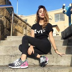 Cute girl in black-----T-shirt, yoga trousers & joggers