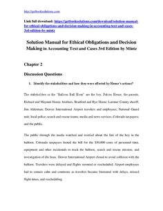 Solution Manual for Ethical Obligations and Decision Making in Accounting Text and Cases 3rd Edition by MintzThis is downloadable Ethical Obligations and Decision Making in Accounting Text and Cases 3rd Edition by Mintz for solution manual View Sample: https://getbooksolutions.com/wp-content/uploads/2017/08/Solution-Manual-for-Ethical-Obligations-and-Decision-Making-in-Accounting-Text-and-Cases-3rd-Edition-by-Mintz.pdfSolutions ManualSolutions Manual contains all answers to all the questions…