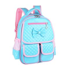 04c54546849 Durable Turquoise Pink Embossed Patent Leather Cute Bow Girls School  Backpack Stylish Sewing Pattern Pupil Preppy