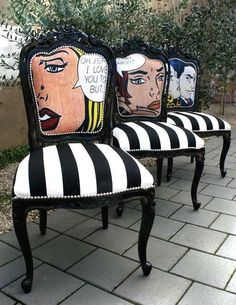 9 Ways To Transform Your Trashy Old Furniture Into Standout Pieces Pop Art Chairs Funky Furniture, Furniture Makeover, Furniture Design, Furniture Ideas, French Furniture, Refurbished Furniture, Office Furniture, Country Furniture, White Furniture