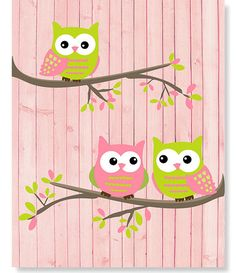 Green and Pink Owls Girl's Room Owl Print by SweetPeaNurseryArt