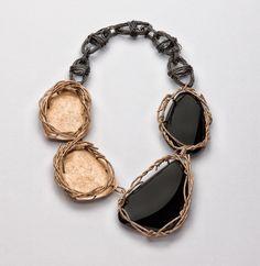 Iris Bodemer, Neckpiece, 2012, copper, obsidian, binding wire, 210 x 310 x 20 mm