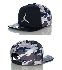 JORDAN JORDAN Snapback cap Adjustable strap on back for comfort Black base  with colored cam. 14aa761b22f6