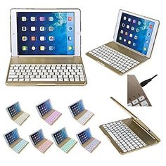 iPad Air 2 Case with Keyboard, Boriyuan Stylish Ultra Slim Portable Aluminium Flip Folio ABS Wireless Bluetooth Keyboard Case Cover Stand Carrying Shell Fit Only For Apple iPad Air 2/ iPad 6th Generation (Newest 2014 Release) With 7 Colors Colorful Illuminated Backlit Free with a Screen Protector and a Stylus Pen - Luxury Gold, http://www.amazon.com/dp/B00PQBDQQS/ref=cm_sw_r_pi_awdm_tjeZub1V5Q25P