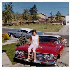 Contrary to persistent rumor, the girl posing on the hood of this 1960 Chevrolet Impala Sport Coupe IS NOT Mary Barra, the current CEO of General Motors. The wrong-way parked Chevrolet on the street IS a Bel Air Impala. Vintage Photographs, Vintage Photos, Vintage Ideas, Vintage Cars, Antique Cars, Vintage Auto, Vintage Iron, Retro Cars, Old Classic Cars
