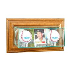 *new Double Baseball Glass Display Case Mlb Ncaa Free Shipping 3 Molding Colors Sports Mem, Cards & Fan Shop Autographs-original