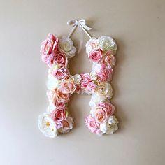 Custom floral letter 18 24'' Nursery decor